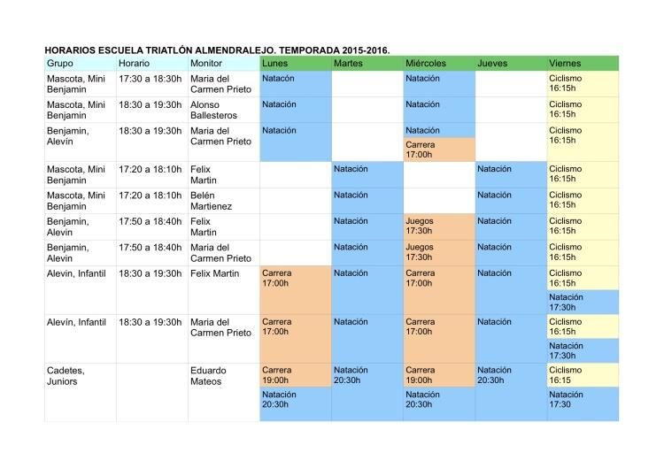Horarios Escuela 2016